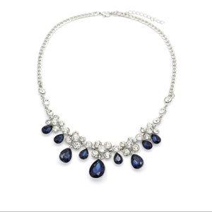 Noble silver blue garnet crystal necklace